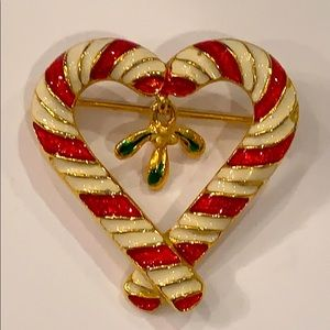 💐5/25 candy cane hanging holly Christmas pin